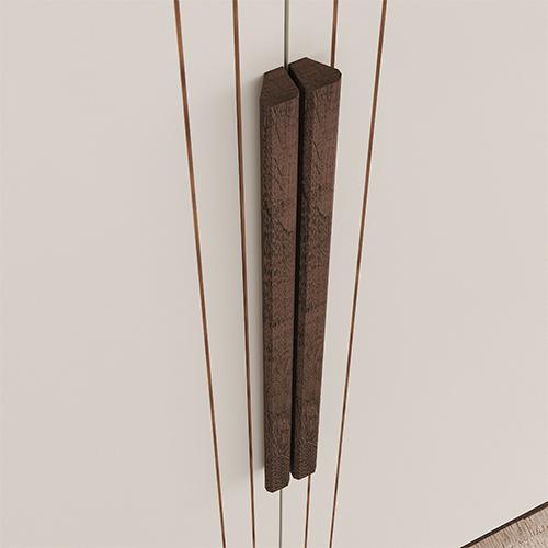 Puxadores em MDF na cor do produto e baixo relevo nas portas